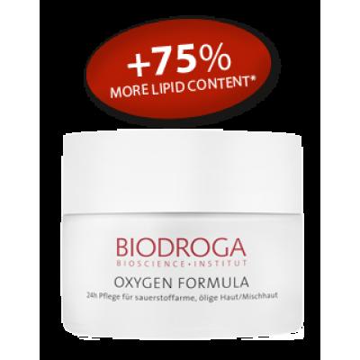 Омолоджуючий кисневий крем день ніч для жирної та комбінованої шкіри Biodroga 24h Care for sallow oily/combination skin